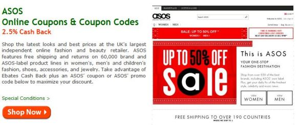 ASOS cash back!